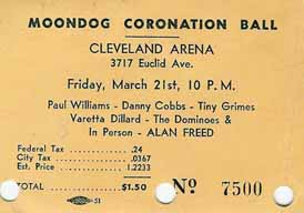 Ticket from the 1952 Moondog Coronation Ball