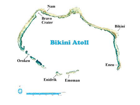 Map of the Bikini Atoll, Marshall Islands