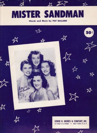 "Sheet Music for ""Mr. Sandman"" by The Chordettes from 1954"