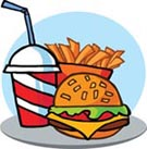 Fast food: a hamburger, drink and fries