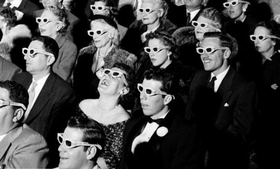 People watching 3D movies with special glasses